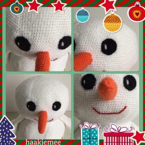 haakpatroon sneeuwpop ogen neus mond